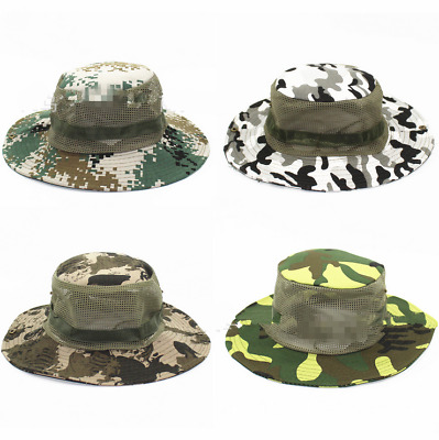 Mens Army Camo Mesh Boonie Hat Wide Brim Sun Hat Bucket Hat Caps Hunting  Fishing 3d18557537a