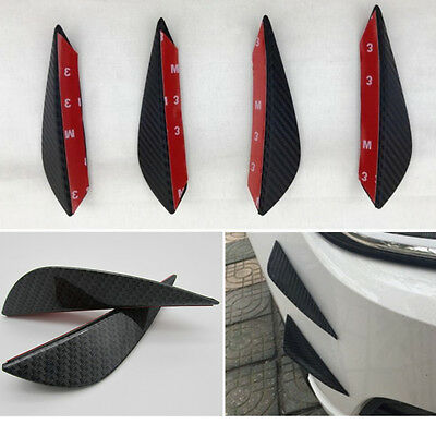 Universal Auto Tuning Stoßstange Spoiler Haiflosse Canards Lippe Carbon Look 4x