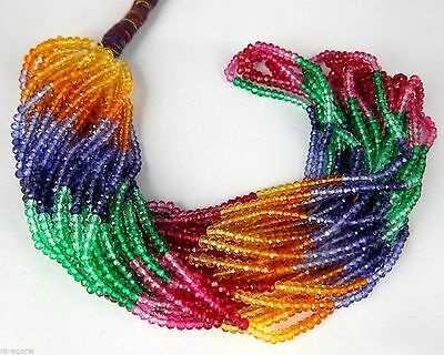 "5 Strand Multi Sapphire Hydro Rondelle Shape 3mm Gemstone Beads 15"" Long"