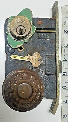 Antique EARLE Push Button Mortise Lock With Knob & Key