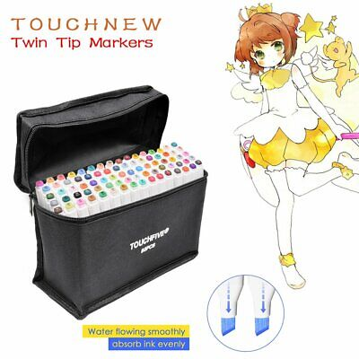 80 Colour Touch Oily Alcohol Twin Tip Art Markers Pens Fine Broad Copic Pen
