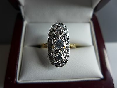9ct gold on 925  silver  cz  /paste art deco ring