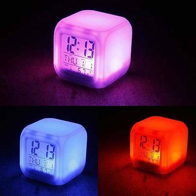 7 LED Color Change Digital Alarm Clock Projection with Thermometer Date Time UK