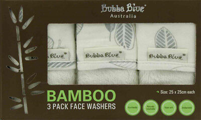 Bubba Blue Bamboo Leaf 3 Pack Face Washer