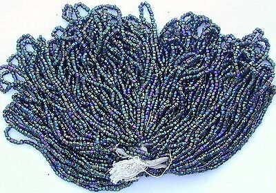 Vintage Purple Green Carnival Iris AB Facet Cut Antique Seed Beads MASTER HANK