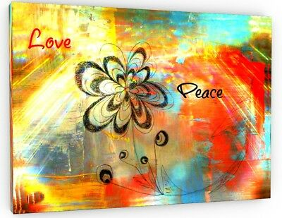 Abstract Love And Peace Canvas Picture Print Wall Art Chunky Frame Large 659-2
