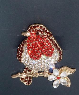 Stunning Robin Red Breast Christmas Festive Diamante Brooch Pin