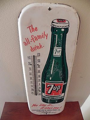Vintage 7-Up Beverage Thermometer Sign -Rare USA Version- Made in USA!