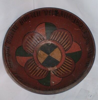 Early Polychrome 19th C Pa. Dutch / German Turned Wooden Bowl Dated 1820
