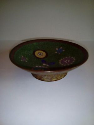 Antique Chinese Cloisonne Small Footed Dish With Flowers And A Butterfly.