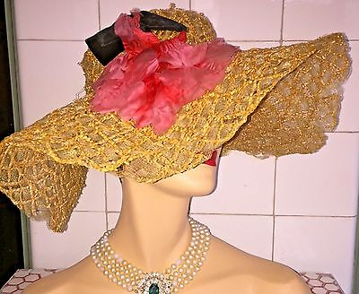 Vintage 1940s 40s Saks Fifth Avenue Pink Flowers Woven Gold Straw Hat