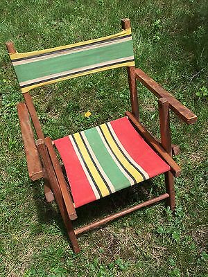 Vintage Child's Children's Wood Wooden Folding Lawn Camp Chair Striped Canvas
