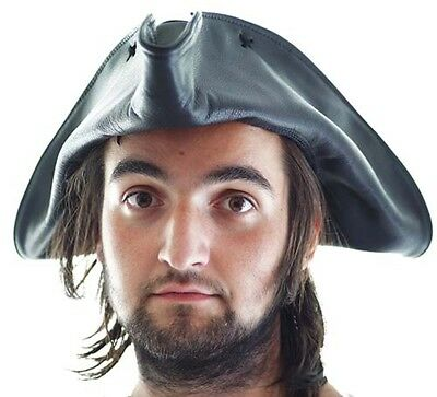 Larp/Sca/Pirate/Buccaneer/JACK SPARROW/POLDARK BLACK LEATHER TRICORN HAT