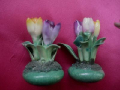 Two antique miniature 6cm  Bone China Crown Staffordshire posies.  - FREE POST
