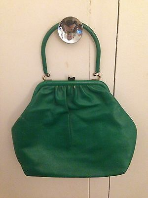 Vintage 1950s-1960s Kelly Green Leather Bag | BUY 5 ITEMS = FREE POSTAGE!