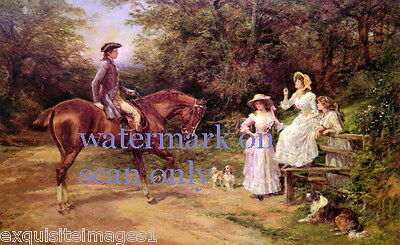c1890~British Man on Horse~3 Pretty Women~Collie Dog Dogs~NEW Lge Note Cards