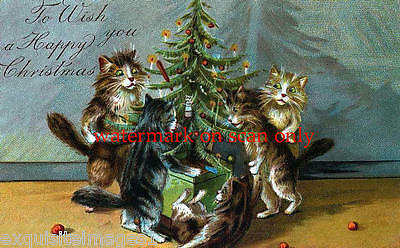 Antique Art~Christmas Kittys,Kittens, Cats~Tree~NEW Large Note Cards