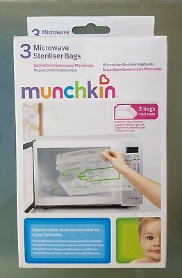 Munchkin Microwave Baby/toddler/child Cleaning Steriliser Bags + Free Postage