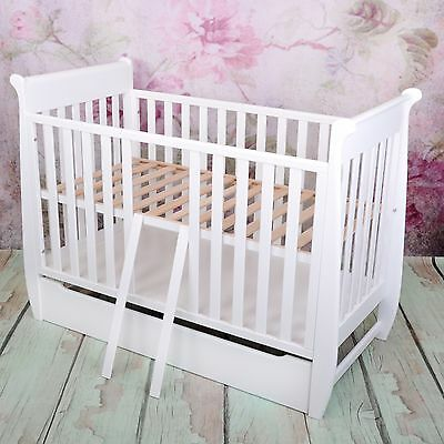 NEW STYLISH WHITE 2in1 COT-BED 120x60 WITH DRAWER  - RRP 169,00 GBP