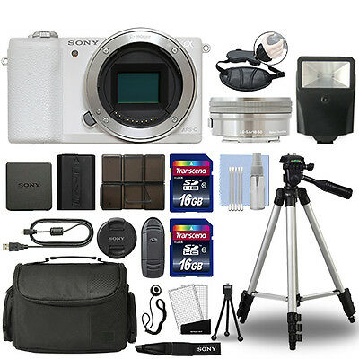 Sony Alpha a5100 Mirrorless Digital Camera with 16-50mm Lens White + 32GB Bundle