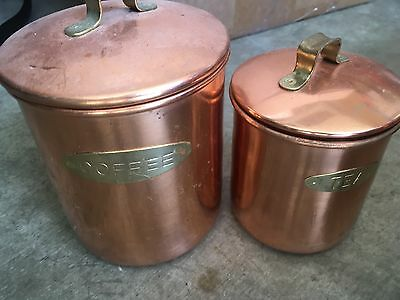 Copper Coffee  And Tea Canisters