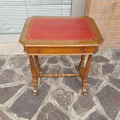 Elegant Working/sewing Table Luis Philippe Style Solid Walnut With Leather Plan