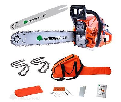 "TIMBERPRO 62cc 16"" & 20"" Petrol Chainsaw 2 Chains & Chain Saw Bars 16 & 20 Inch"