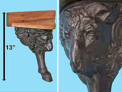 vintage cast iron architectural salvage goat wall shelf stove leg Capricorn