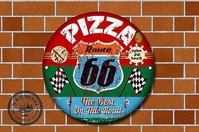 Route 66 Pizza Metal Sign, Cars, American, Gas, Classic, Garage Decor, 960