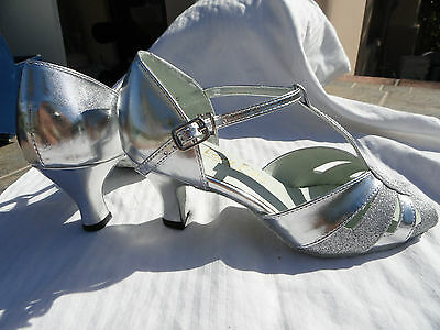 "Very Fine ballroom latin dance shoes NEW silver OR gold sparkle  5-10 2.5"" heel"