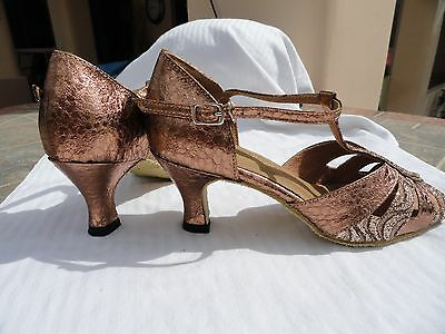 "Very Fine ballroom latin dance shoes NEW copper/ gold sparkle sz 5-10 2.5"" heel"
