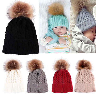 Children Kids Baby Warm Winter Wool Knit Beanie Faux Fur Pom Bobble Hat Cap