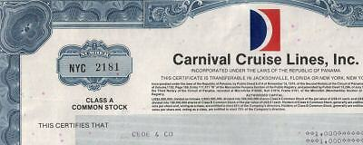 XXX-RARE CARNIVAL CRUISE LINES STOCK w COLOR LOGO!! CV $75! NOT AVAIL ELSEWHERE!