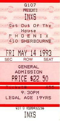 INXS - Michael Hutchence - Ticket Stub 1993 - Toronto-Get Out of The House Tour.