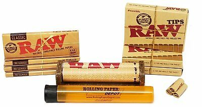 Raw Unbleached Classic 1 1/4 Size Cigarette Rolling Papers, Tips & More Bundle