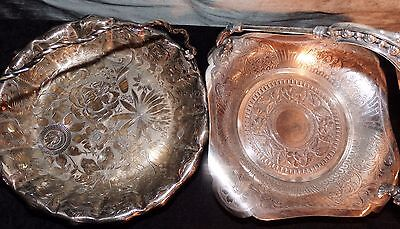 Two Antique Victorian Quadruple Plate James W. Tufts Bridal BRIDE'S BASKETS