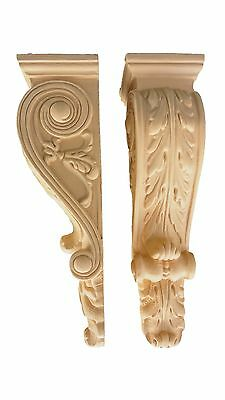 One Pair of Acanthus Leaf Corbels  -   Resin Corbel Pair (Pre-primed | Beige)