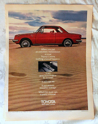 1969 Toyota Corona Ad - Red - 2 Door Hardtop Coupe - Vintage Advertising Page