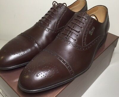 GUCCI MENS Brown Leather BROGUE OXFORD Dress SHOES 12 UK/13 US New