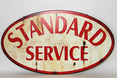 Large Two Sided Distressed - Standard Service - Metal Hanging Sign Vintage Look