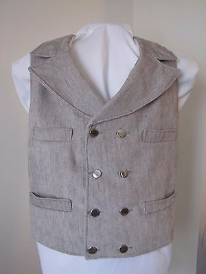 Double Breasted Notch Collar Vest Civil War Victorian Old West - Reproduction