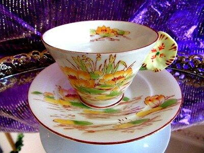 Melba / Japanese Hand Painted Yellow Rose Flower Handle 3 D Tea Cup And Saucer