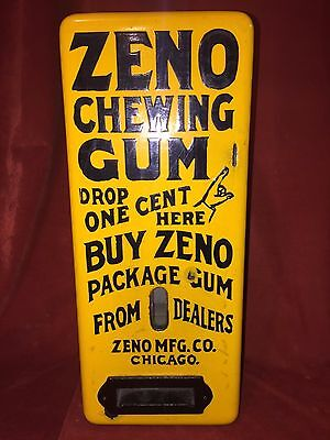Yellow Porcelain Zeno Chewing Gum Machine Works On A Penny Cent Gum All Original
