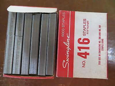 "NOS Vintage SWINGLINE No. 416 STAPLES 4/16"" 5000 Qty Box for USE in 200 101 Guns"