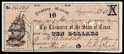 1862 Austin, Texas $10 Ten Dollar Bill Treasury Warrant Currency Note