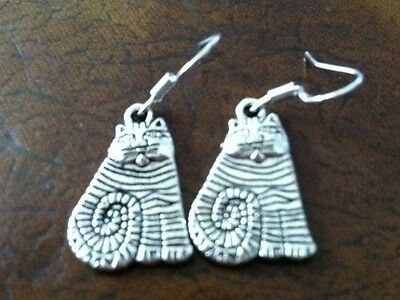 Cheshire Cat Earrings Silver, .925 Sterling Silver Wires, animal pet wonderland