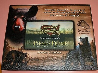 AMERICAN EXPEDITION,  BLACK BEAR, CANVAS PICTURE FRAME.  HOLD 4 x 6 PHOTO