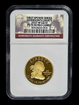 """2007-W Gold $10 First Spouse Series """"Jefferson Liberty"""" NGC Proof 70 Ultra Cameo"""
