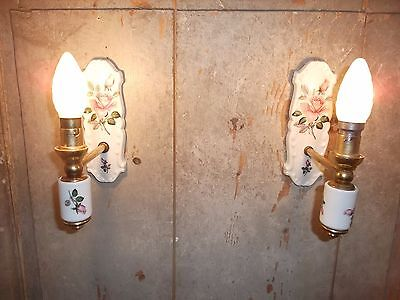 "French a pair porcelain wall light sconces nicely detailed marked ""Limoges"""