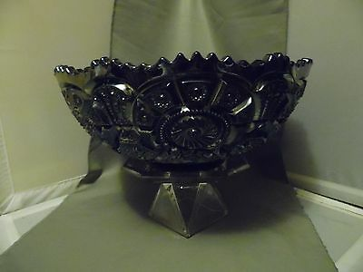 Antique Imperial Silvered Carnival Amethyst Glass Broken Arches Large Punch Bowl